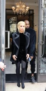 Kim Kardashian with Kanye West leave Royal Monceau hotel